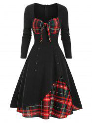 Plaid Button Embellished Bowknot Sweetheart Dress -