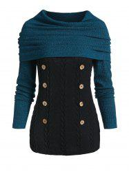 Convertible Collar Button Cable Knit Sweater -