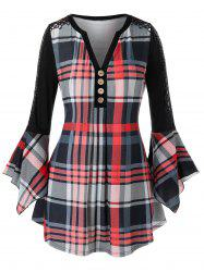 Plus Size Plaid Lace Insert Ruffle Sleeve Blouse -