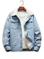 Faux Fur Lined Casual Denim Jacket -