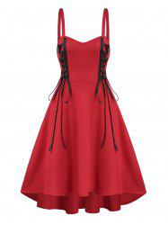 Lace Up High Low Cami Dress -