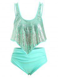 Plus Size Sequins Overlay High Rise Tankini Swimsuit -