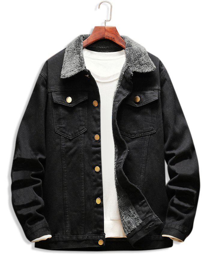 Outfits Faux Fur Lined Casual Denim Jacket