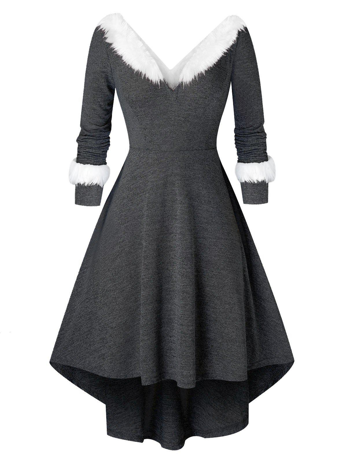 Trendy Plus Size Christmas Asymmetrical Faux Fur Panel Knitted Dress