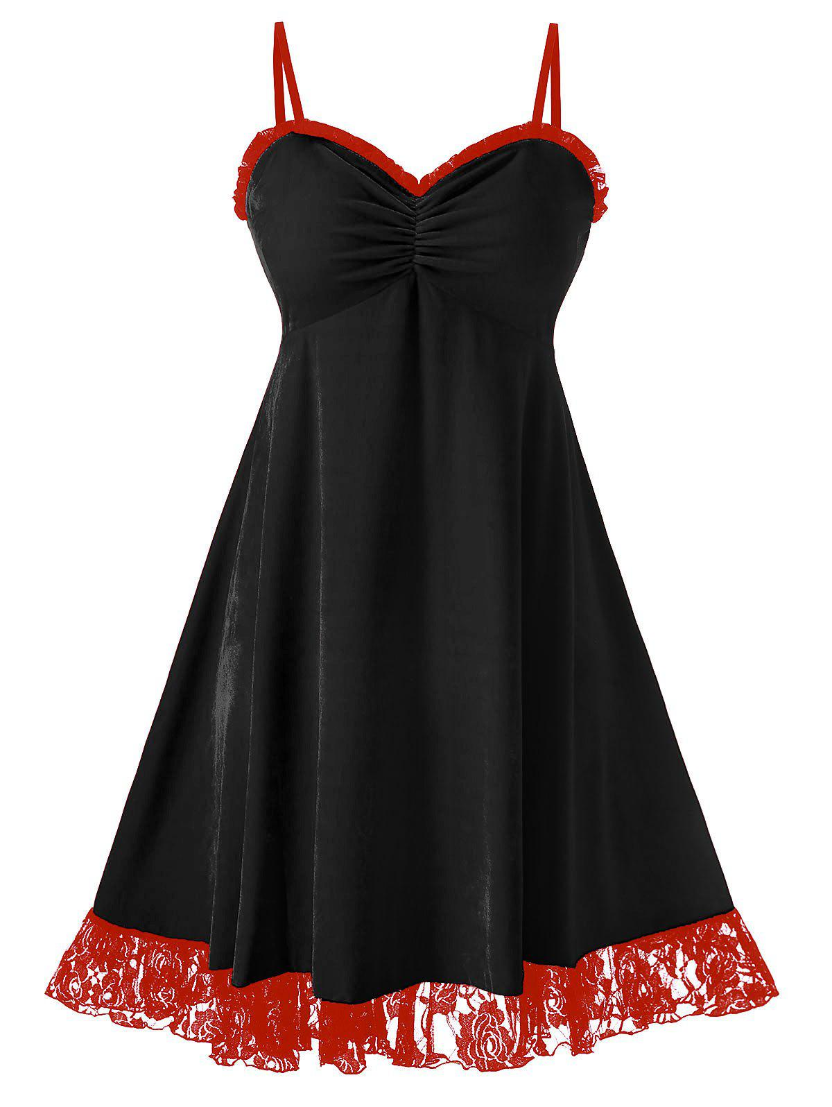 Store Plus Size Christmas Velvet Flounce Lace Panel Cami Dress