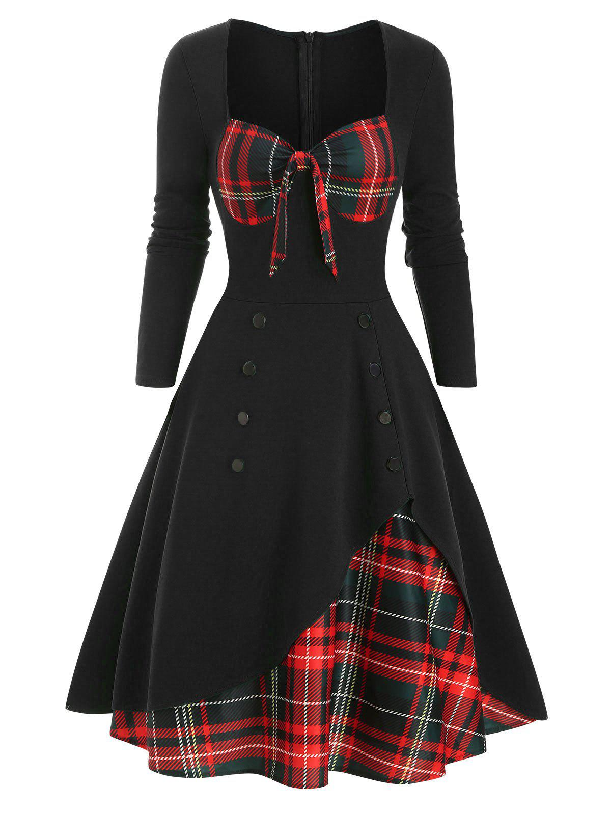 Cheap Plaid Button Embellished Bowknot Sweetheart Dress