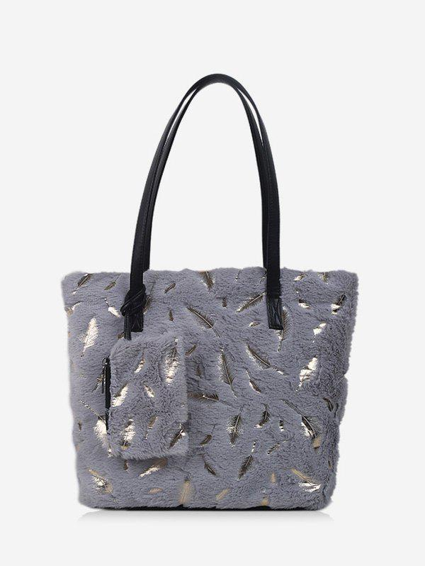Chic Plush Feather Shoulder Tote Bag