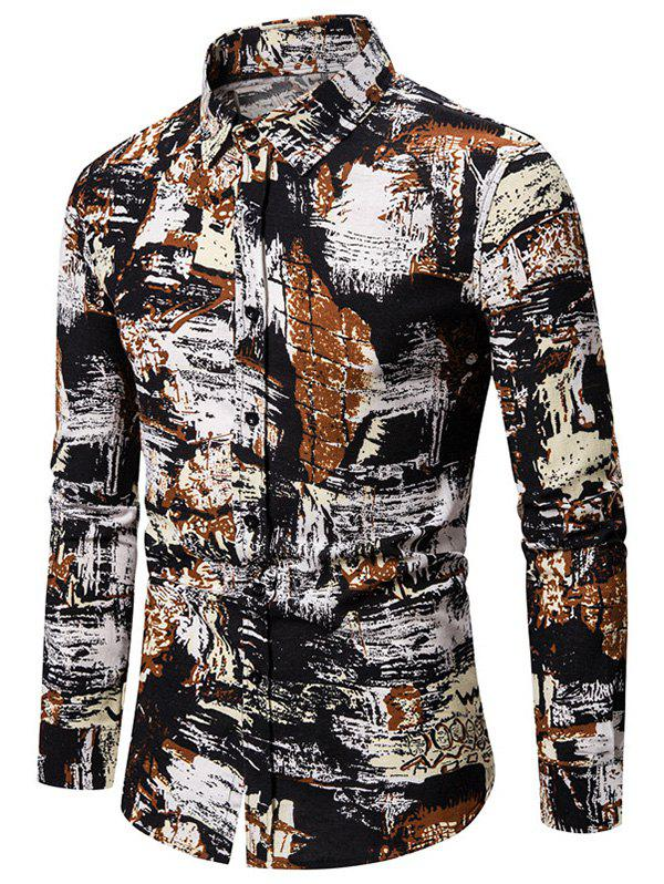 New Graphic Painting Print Casual Button Up Shirt
