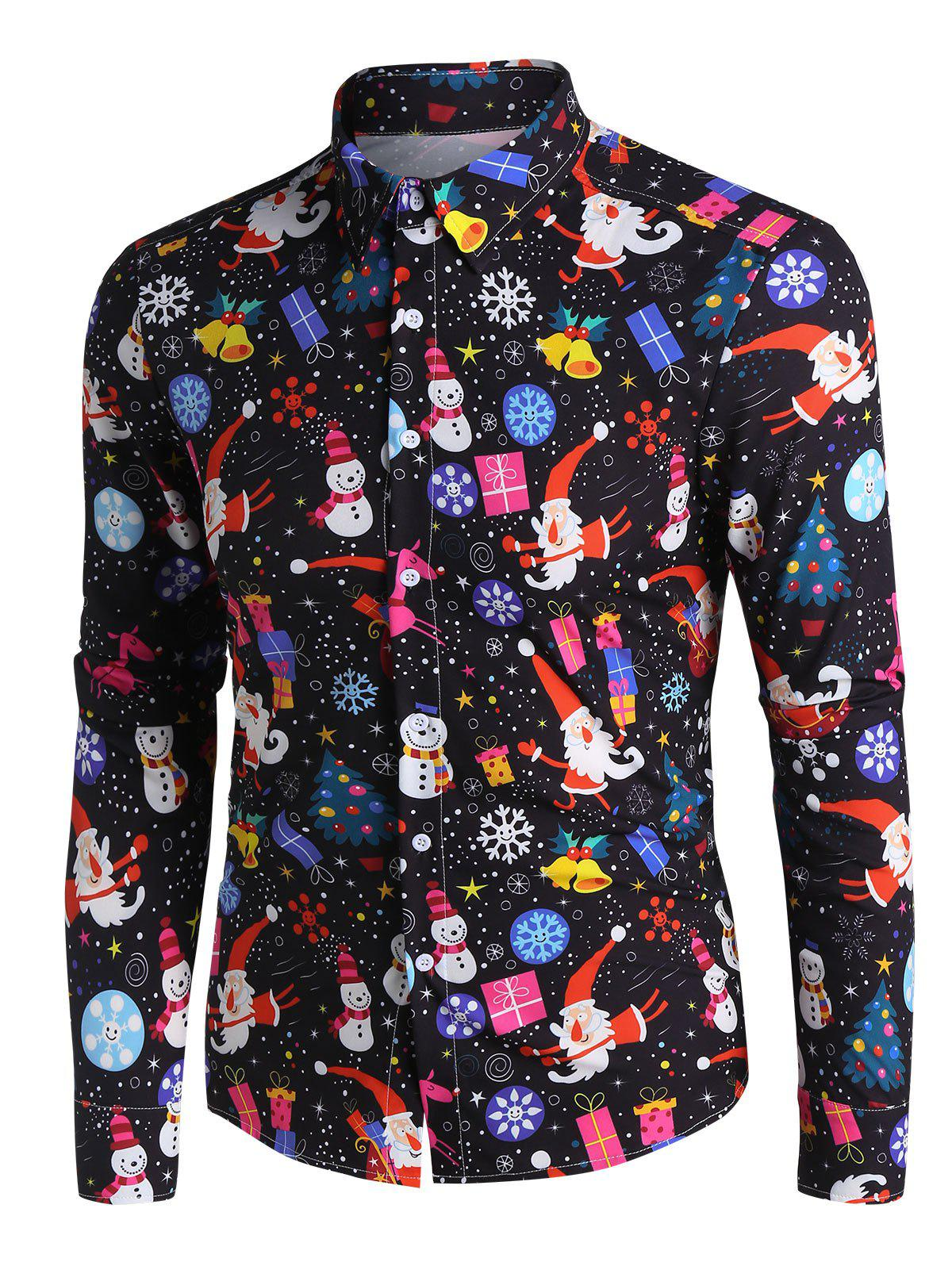 Sale Christmas Santa Claus and Snowman Print Button Up Long Sleeve Shirt