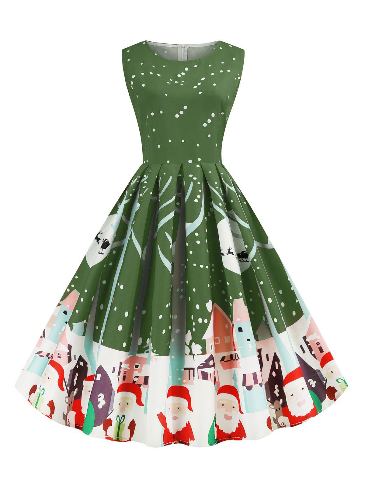 Chic Santa Claus Snowflake Reindeer Christmas A Line Dress