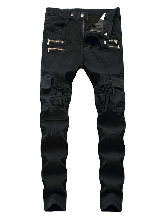 Unique Zipper Pleats Patchwork Casual Jeans