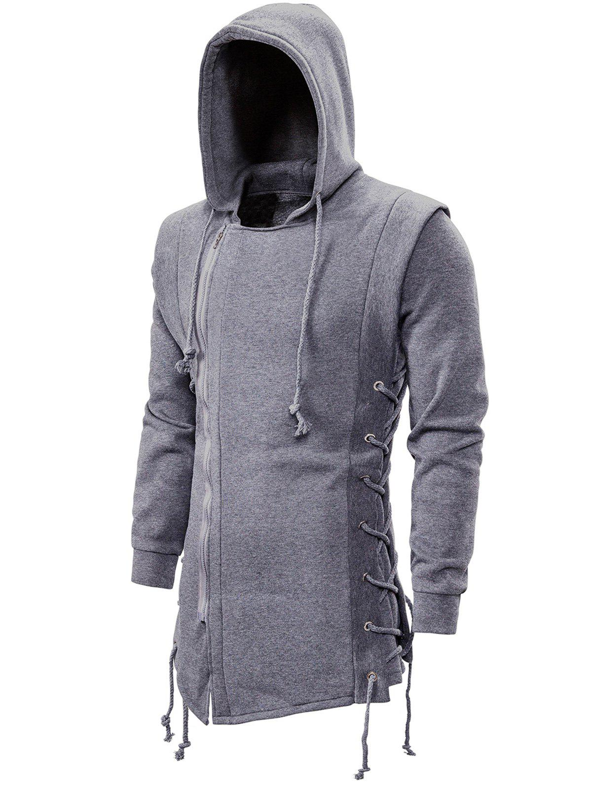 Fancy Side Lace Up Fleece Gothic Hoodie