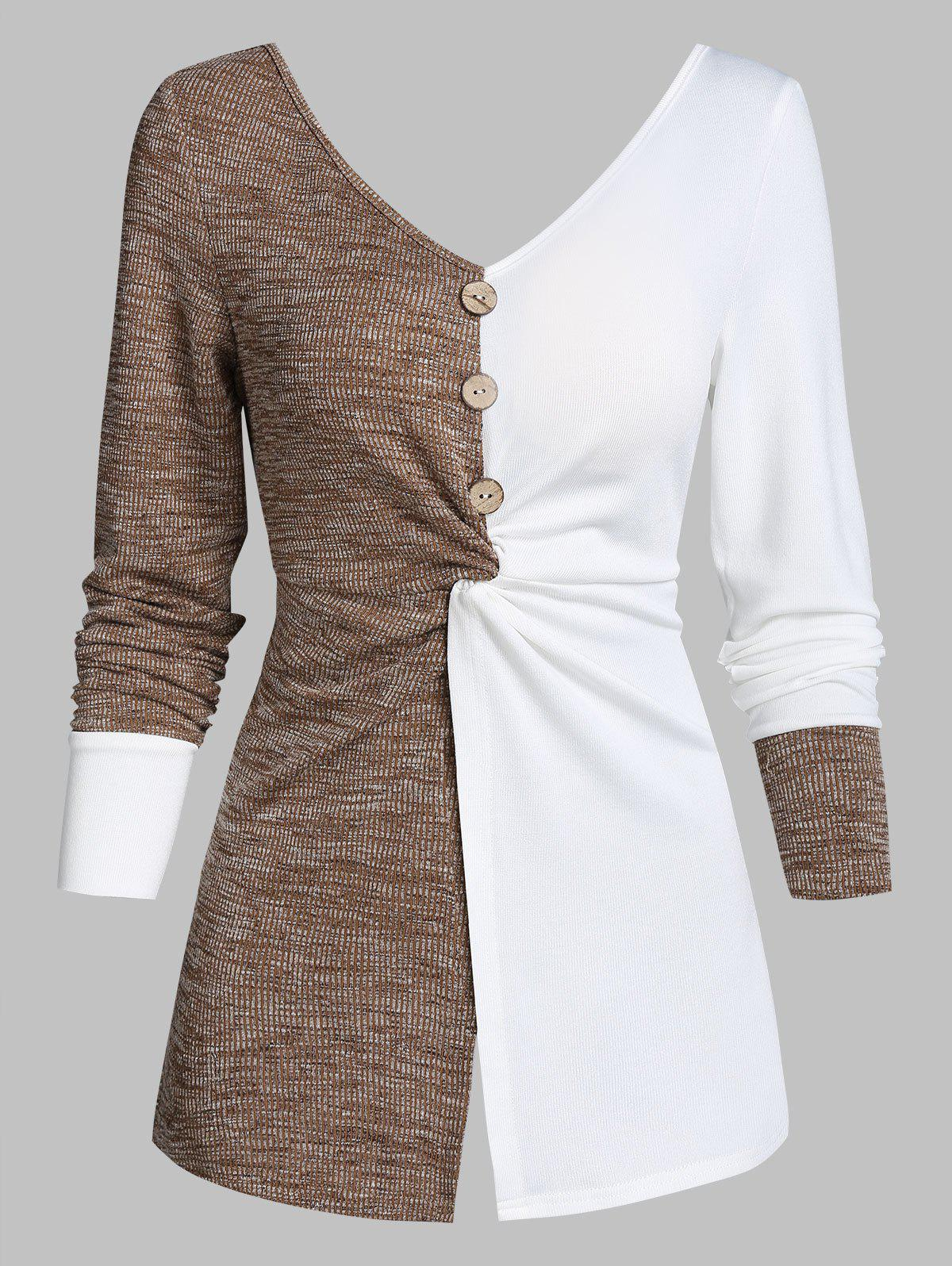 Unique Twist Front Mock Button Contrast Ribbed Sweater