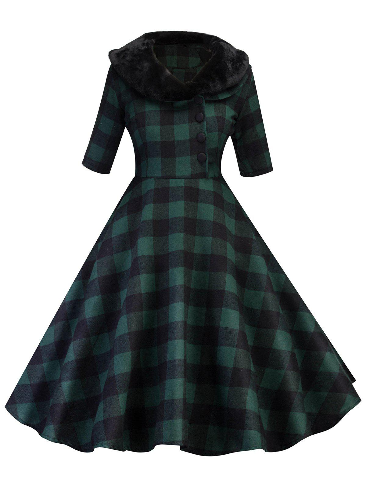 Shop Half Button Detachable Faux Fur Collar Plaid Dress