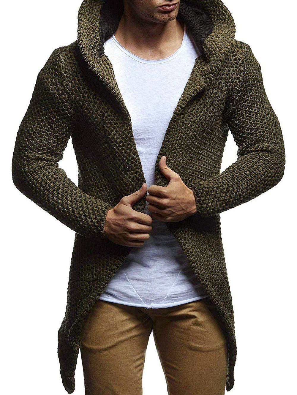 Trendy Heathered Open Front Knitted Hooded Cardigan