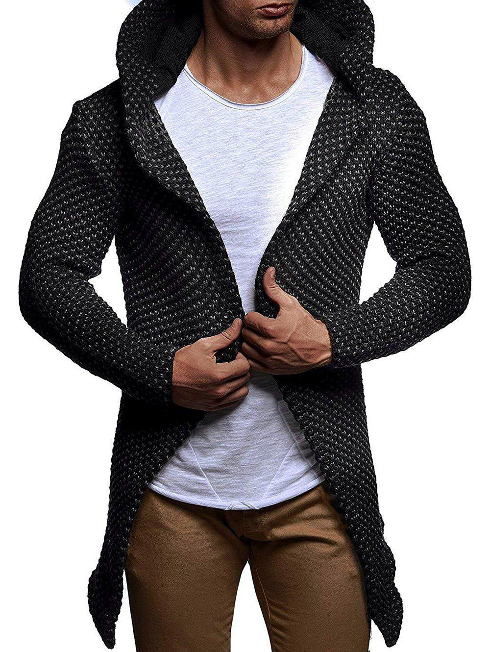Fashion Heathered Open Front Knitted Hooded Cardigan