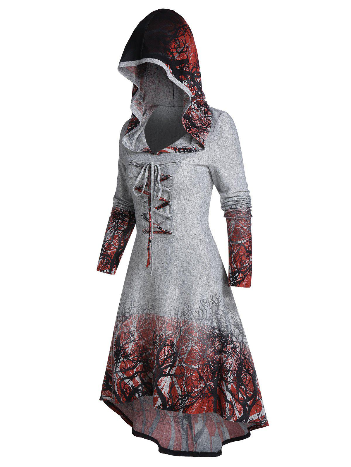 Tree Root Print Hooded Lace-up High Low Dress фото