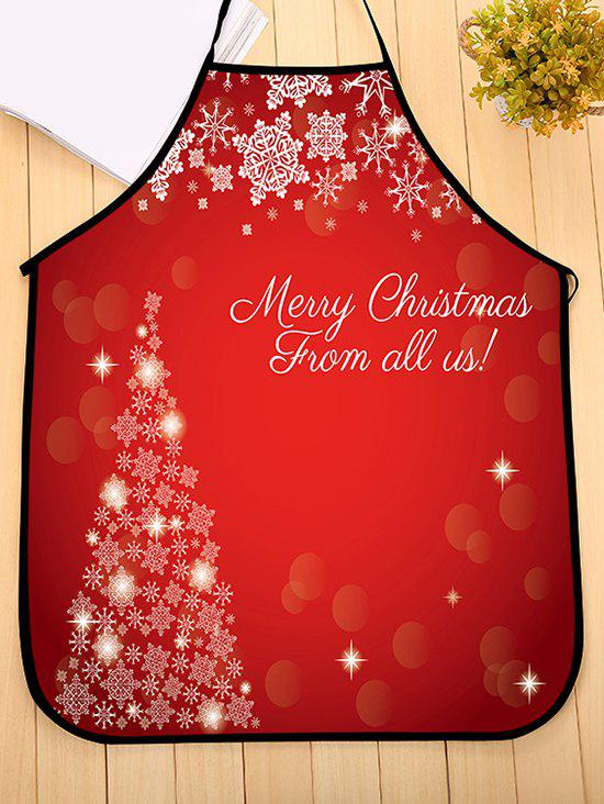 Discount Christmas Tree Snowflake Greetings Print Cooking Apron