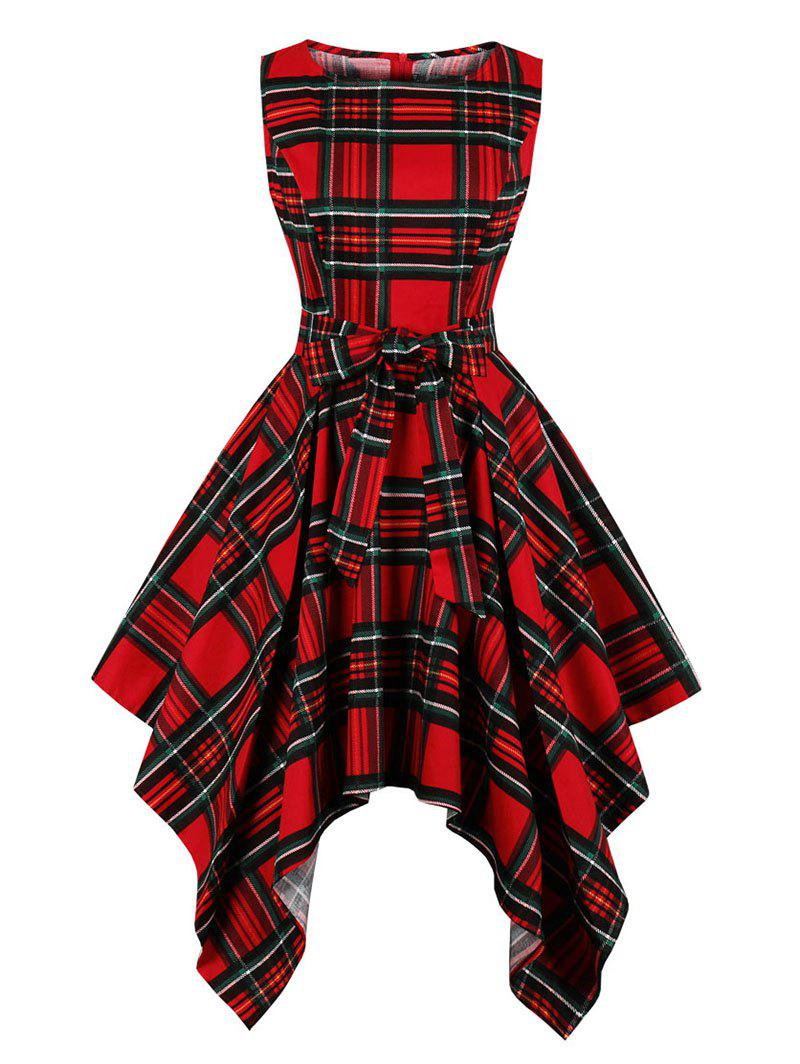 New Checked Belted Sleeveless Handkerchief Dress