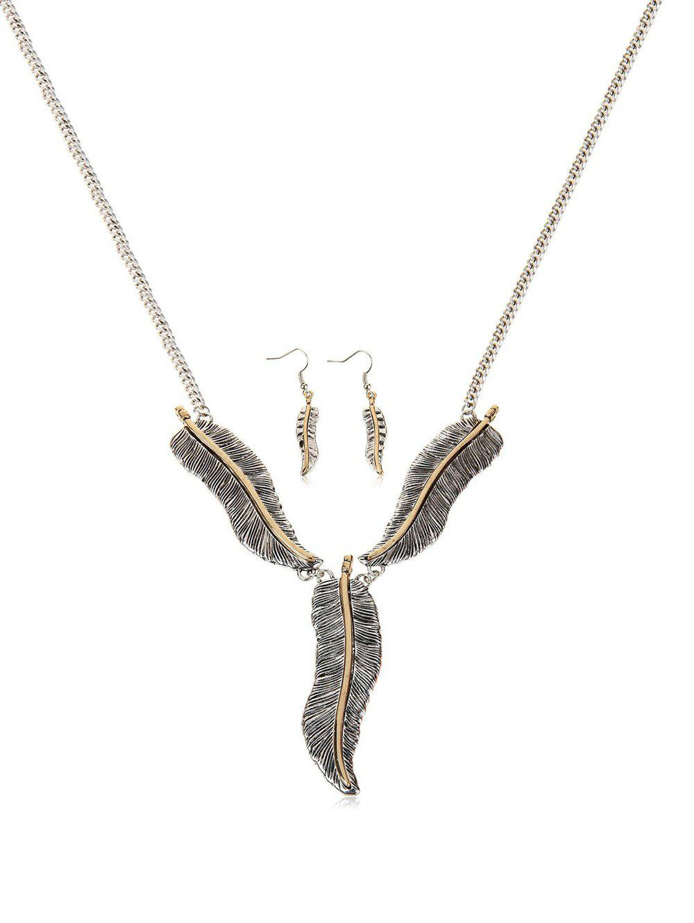Latest Feather Shape Pendant Jewelry Set