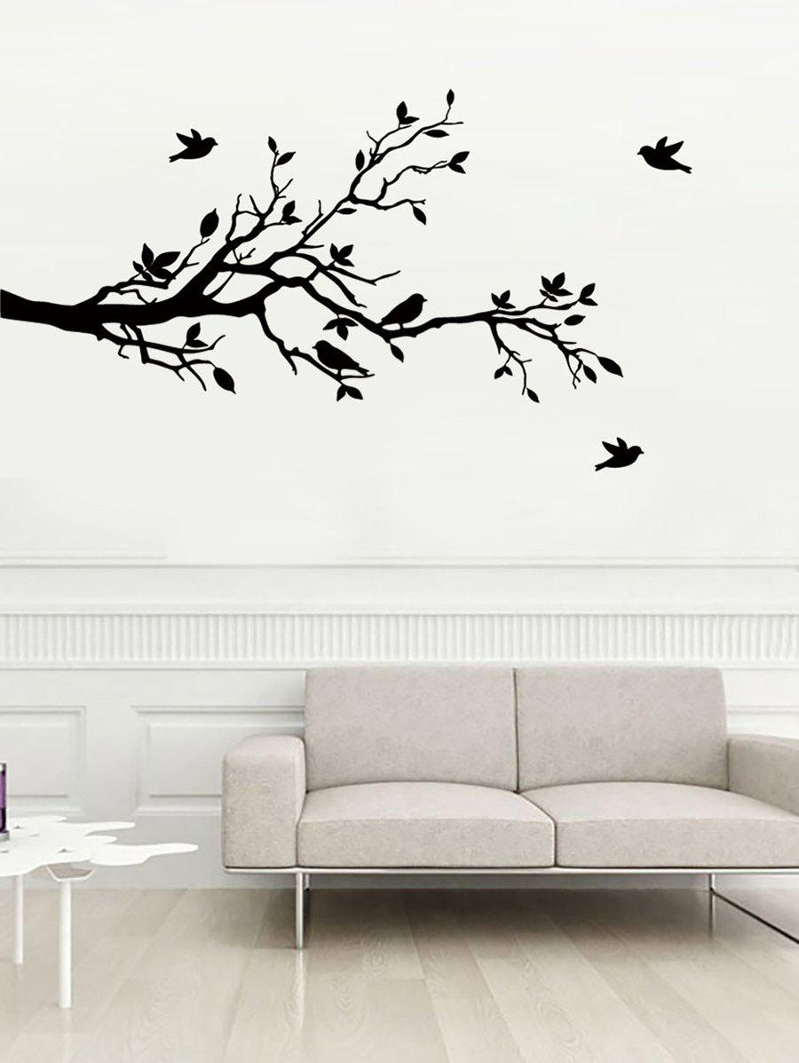 Chic Tree Branches and Birds Print Decorative Wall Art Stickers