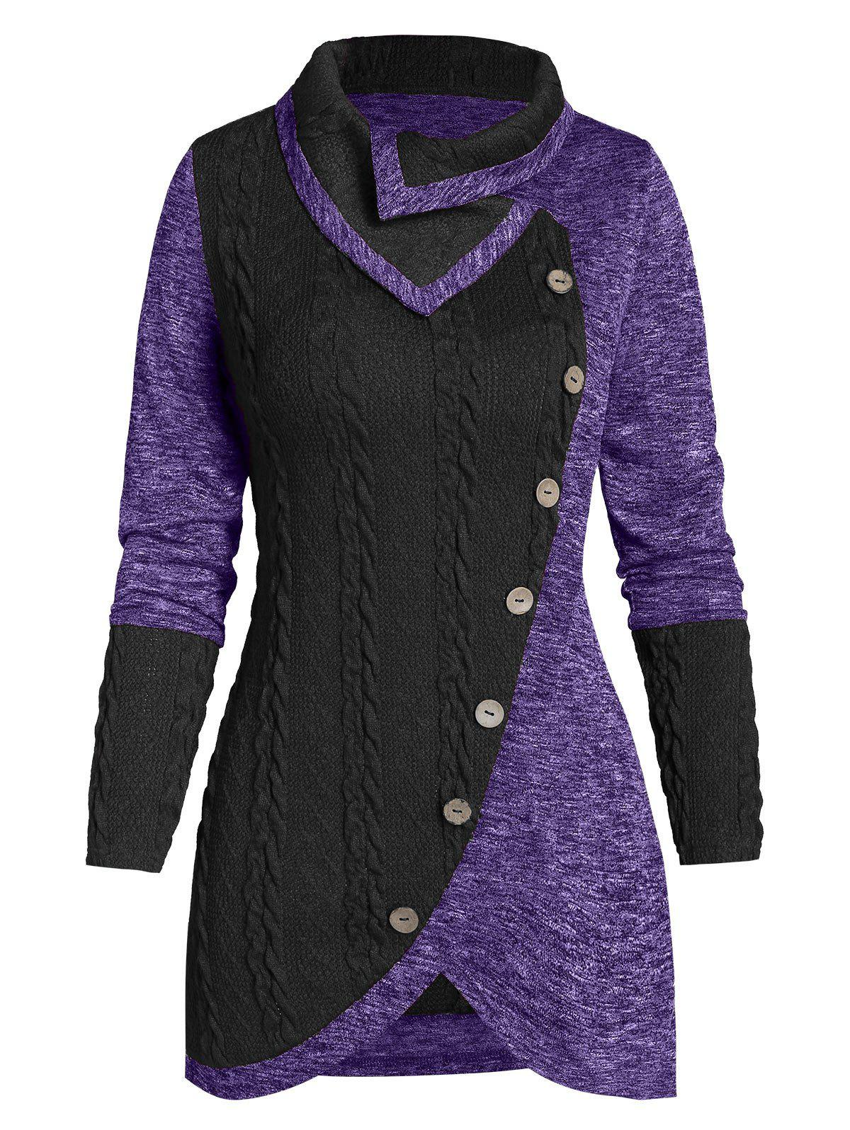 Outfits Turn-down Collar Contrast Tunic Sweater