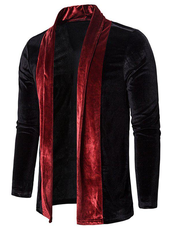 Best Colorblock Splicing Velour Open Front Cardigan