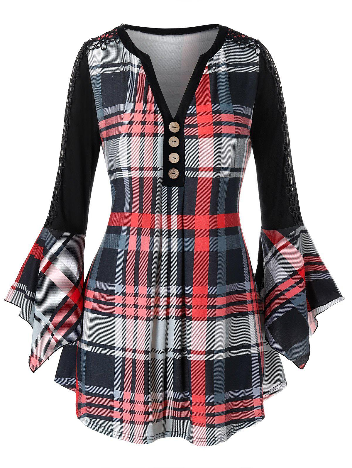 Trendy Plus Size Plaid Lace Insert Ruffle Sleeve Blouse