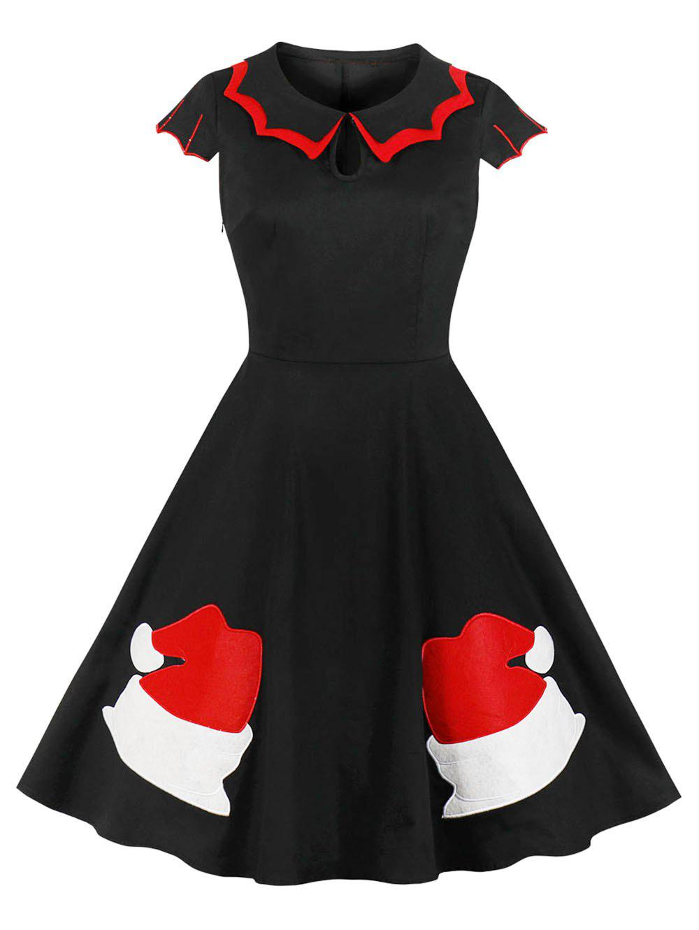 Shop Christmas Embroidered Flat Collar Vintage Dress