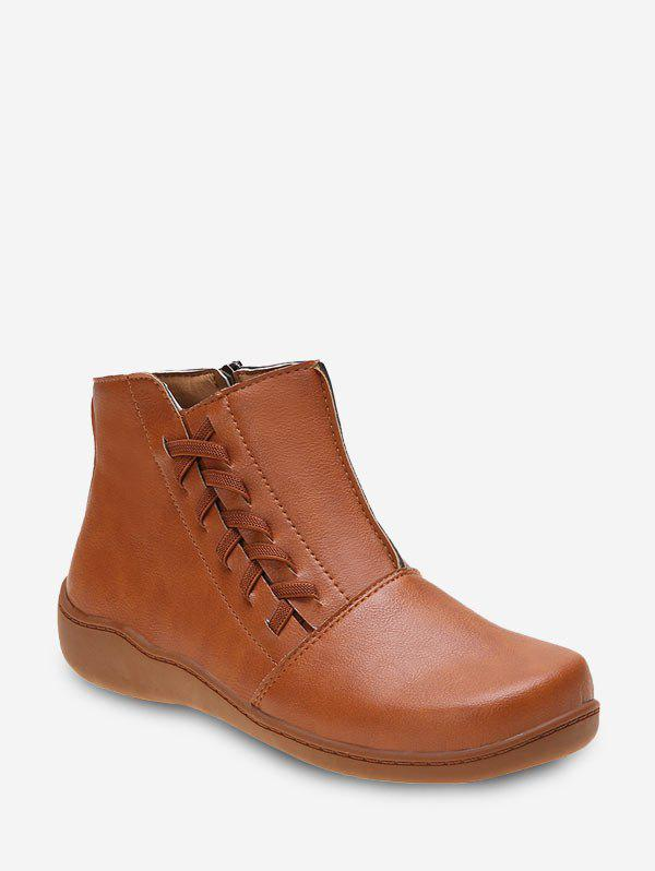 New Plain Side Lace Up Ankle Boots