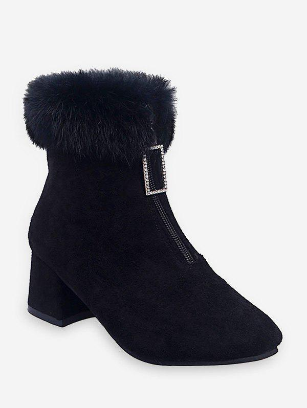 Hot Square-pull Front Zip Chunky Heel Short Boots