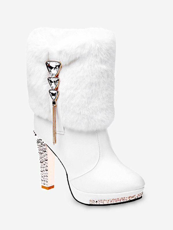 Discount Triangle Rhinestone Faux Fur High Heel Boots