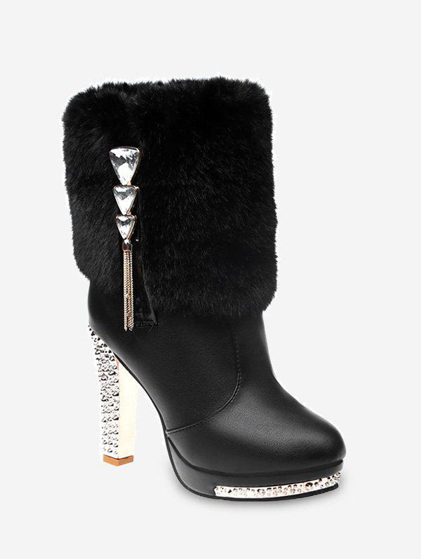 Outfit Triangle Rhinestone Faux Fur High Heel Boots