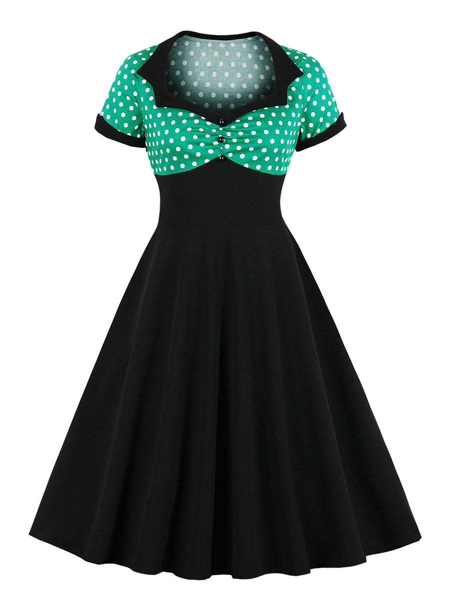 Outfits Sweetheart Neck Polka Dot Cuffed Vintage Dress