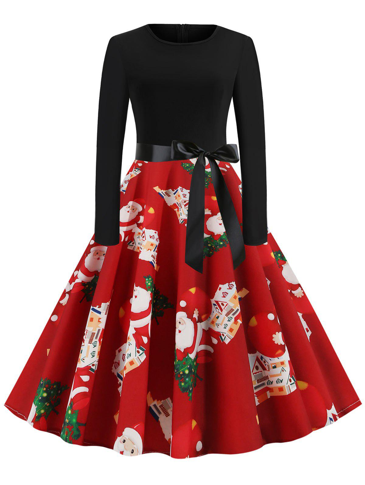 Hot Christmas Tree Santa Claus Belted Party Dress