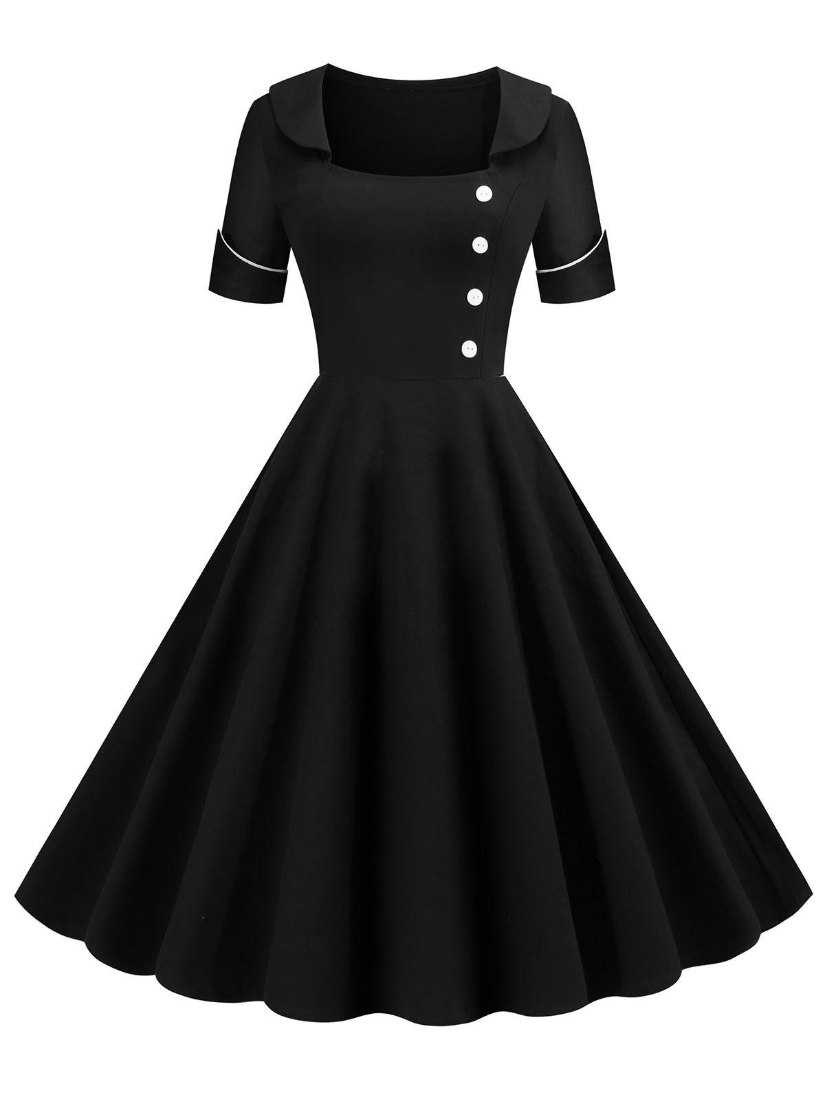 Buy Low Cut Buttoned Contrast Piping Vintage Dress
