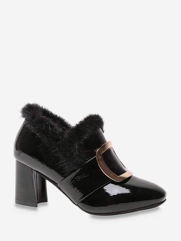 Trendy Square Buckle Fuzzy Trim High Heel Boots