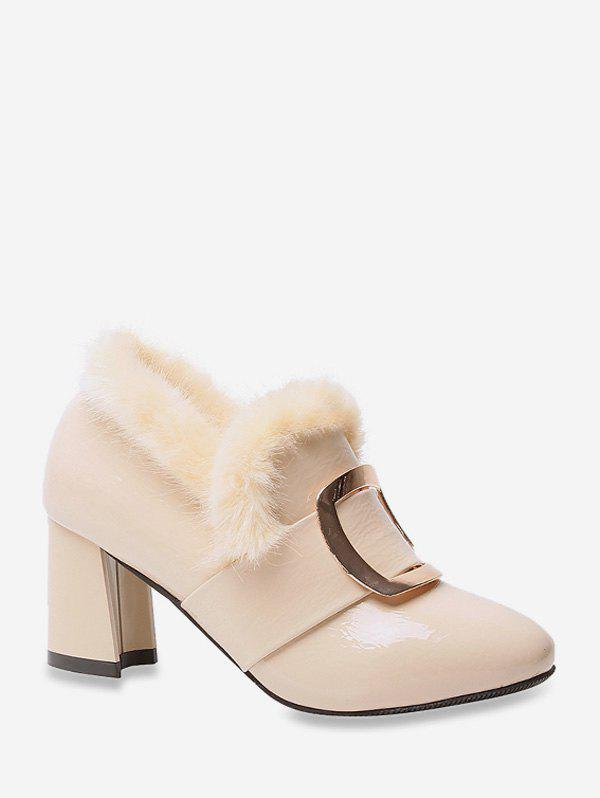 Latest Square Buckle Fuzzy Trim High Heel Boots