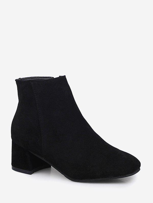 Plaine bout carré mi talon Bottines