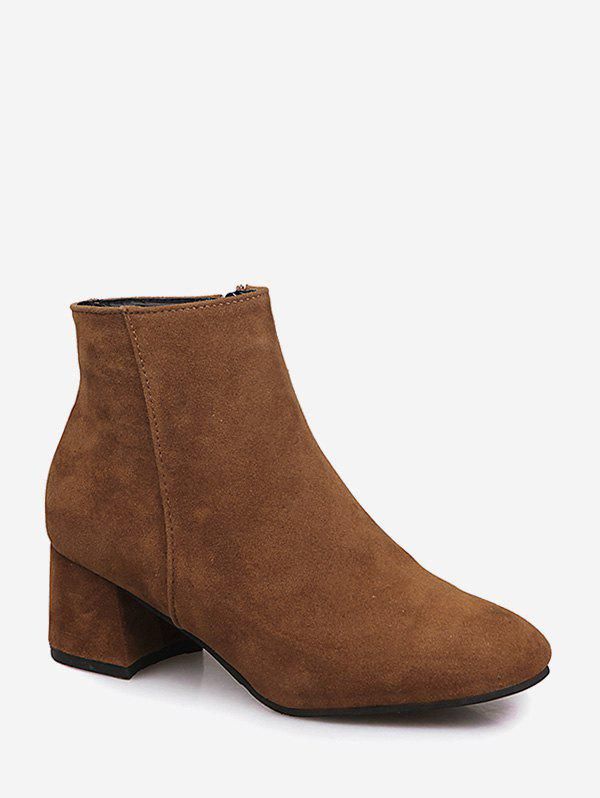 Cheap Plain Square Toe Mid Heel Ankle Boots