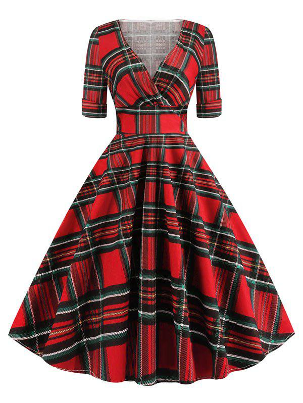 Shop Plaid Back Zipper Surplice Dress