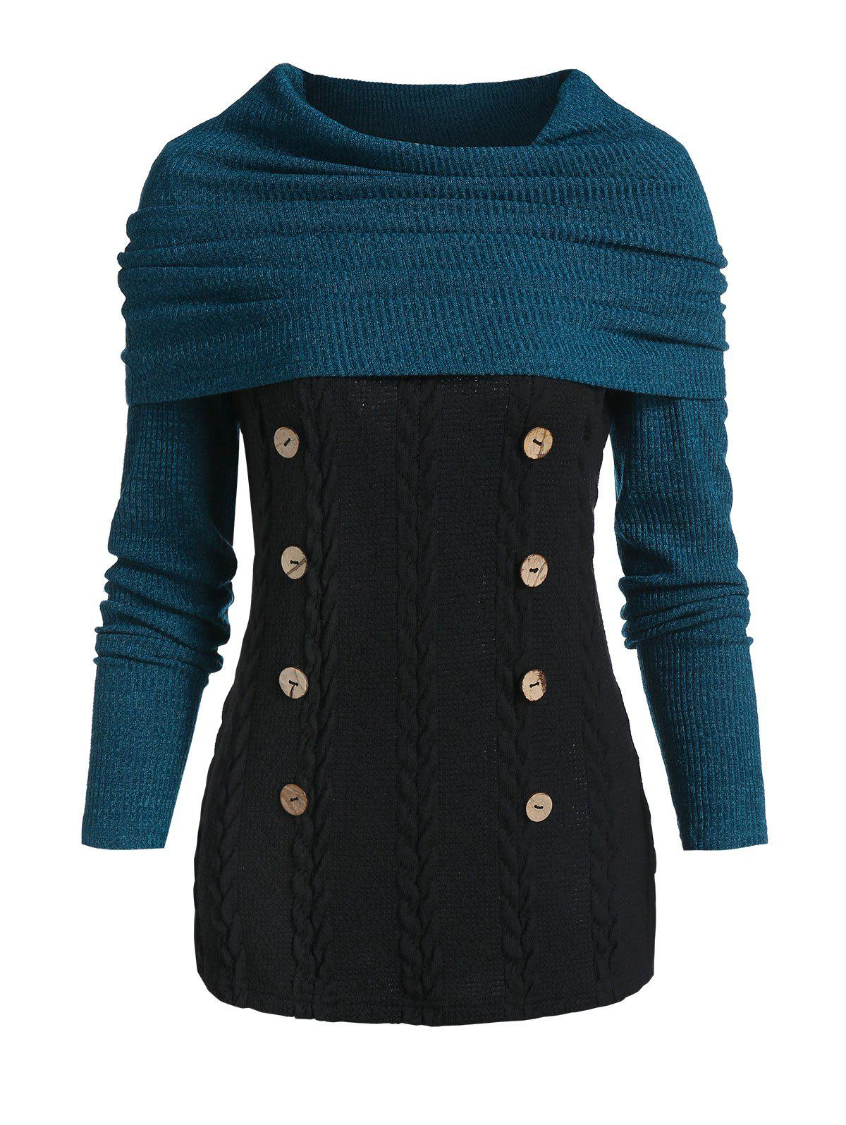 Sale Convertible Collar Button Cable Knit Sweater