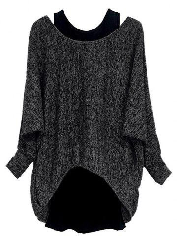 Plus Size Batwing Sleeve Marled High Low Tee And Tank Top Set