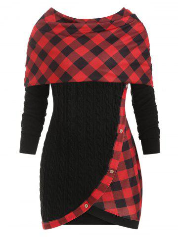 Plus Size Plaid Convertible Cable Knit Sweater