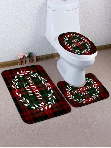 Merry Christmas Plaid 3 Pcs Bathroom Toilet Mat - from $23.61