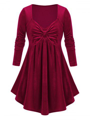 Plus Size Top bowknot - RED WINE - L