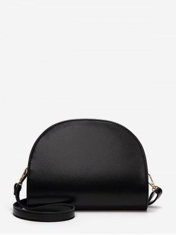 Semicircle Glossy Leather Messenger Bag