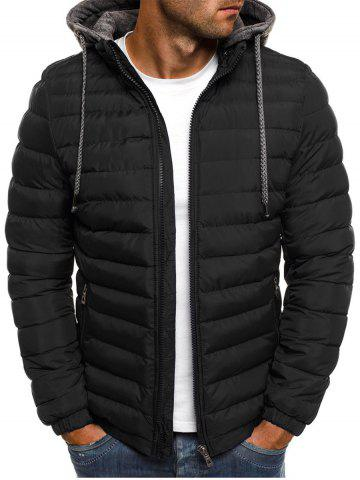 Solid Color Zip Up Hooded Quilted Jacket - BLACK - XL