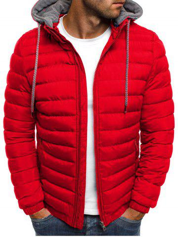 Solid Color Zip Up Hooded Quilted Jacket