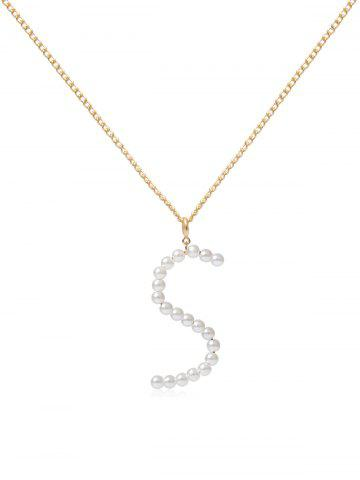 Brief Faux Pearl Letter Chain Pendant Necklace - from $3.54